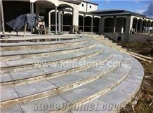 G684 Black Pearl Basalt Patio Step,Staircase Railings,  Black Stone Black Basalt Bullnosed Stairs