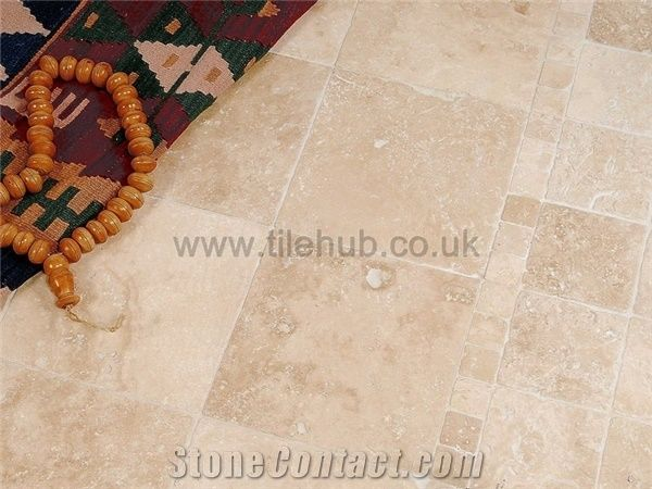 Lydia Antique Travertine Tumbled Opus Pattern Floor Tiles From