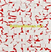 Dotted Red Crystal White Marble Mosaic
