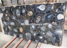 Natural Blue Agate Semiprecious Stone Slab