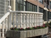 Curved White Marble Balustrade