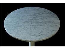 Carrara White Marble Table Round Tops