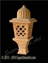 Yellow Rainbow Sandstone Lamp, Lantern, Decorative Light, Outdoor Light