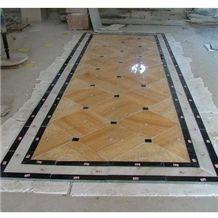 Wellest J116 Honey Onyx and M501 Black Marquina Marble Medallion Stone Pattern Flooring, China Honey Ect. Yellow Onyx Medallions