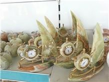 Clock, Multi Green Onyx Home Decor