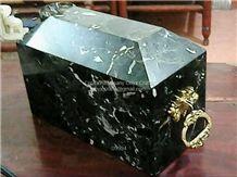 Zebra Black Marble Cremation Urns