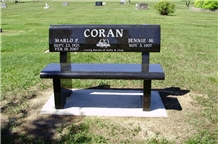 Weir Black Granite Memorial Bench