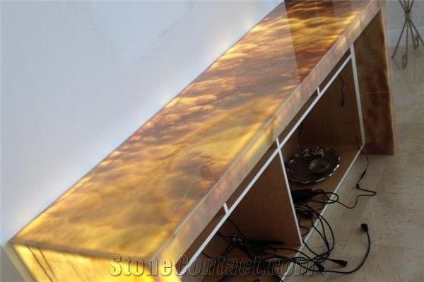 Translucent Onyx Stone Work Top Yellow Onyx Work Tops