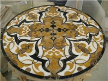 Marble Inlayed Waterjet Tabletops, Brocatello Di Siena Yellow Marble Waterjet Tabletops