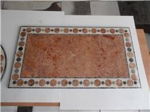 Rosso Marble Waterjet Inlay Tabletop, Skiros Rosso Red Marble Inlay Tabletops