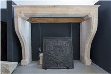 Antique French Stone Fireplaces, Beaumaniere Beige Limestone Fireplaces