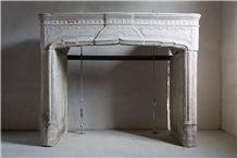 French Limestone Antique Fireplace, Fontbelle Beige Limestone Fireplaces