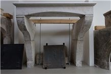 French Limestone Antique Fireplace, Lauder White Limestone Fireplaces