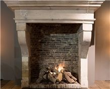 Lavoux Dore French Limestone Antique Fireplace