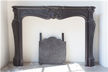 Noir Grand Antique Marble Fireplace
