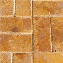 Tuscany Gold Travertine , Karabuk Yellow Travertine Tumbled Pattern, Valencia Travertine