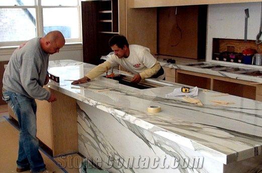Calacatta Borghini Marble Kitchen Countertop Installation From United Arab Emirates