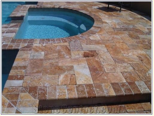Noce Travertine Tumbled Versailles Pool Pattern Set From