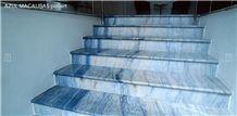 Azul Macaubas Quartzite Polished Stairs