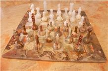 Multi Color Onyx Chess Board Set