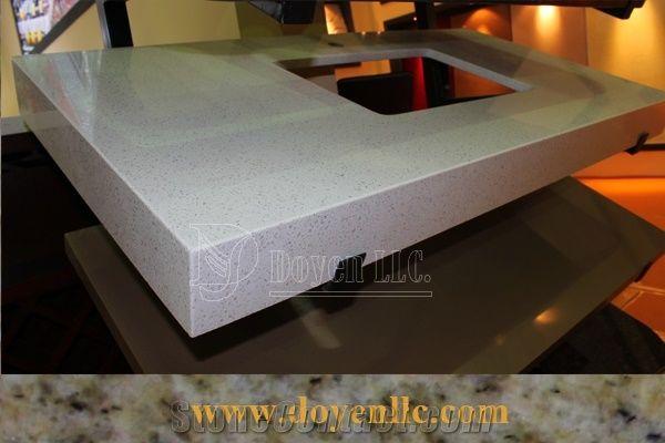 Bianco Gentle White Quartz Vanity With Laminated Flat Edge