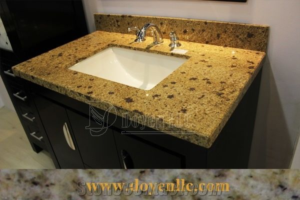 Granite Bathroom Vanity Tops brazil golden jasmine granite bathroom vanity top wt sink from