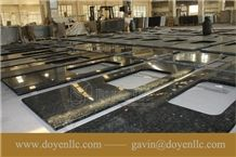 Chinese Butterfly Green Granite Kitchen Counter Tops Project