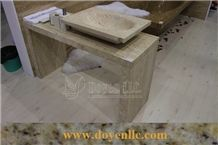 Jadite Travertine Bathroom Vanity Top with Marble and Travertine Sinks, Beige Travertine Bathroom Vanity Tops and Granite Sinks