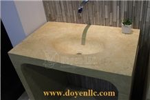 New Beige Marble Bathroom Vanity Top Sink