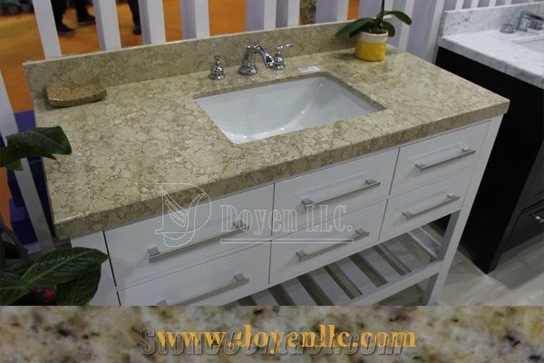 Pink Rose Quartz Bathroom Vanity Top With Rectangle Sink From