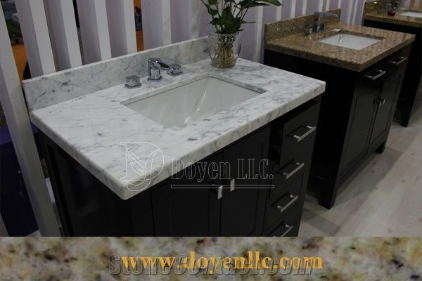 Delicieux White Carrara Marble Vanity Top With White Ceramic Sinks