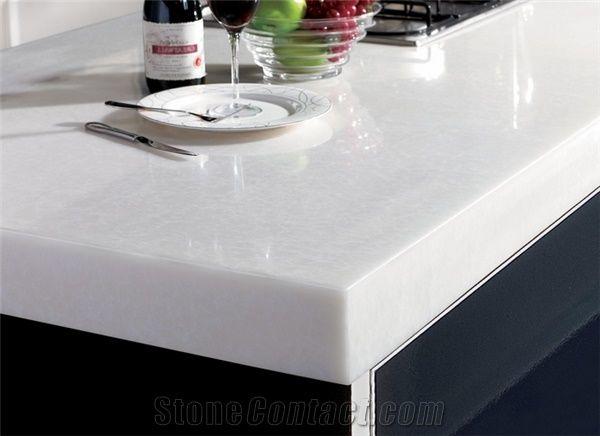Pure White Nano Artificial Stone Kitchen Countertops From