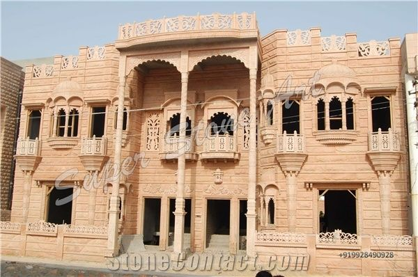 Front Elevation Of House In Rajasthan : Jodhpur sandstone front elevation pink
