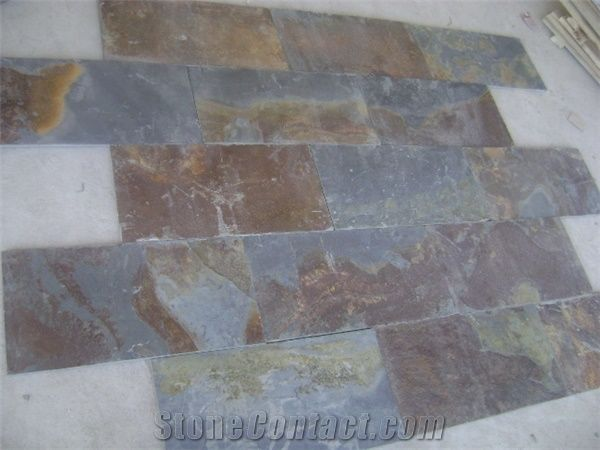 Wellest Rusty Brown Multi Color Slate Natural Finish Floor Tile China Multi Colour Slate St