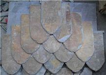 Wellest Rusty Brown Rectangular Black Slate Roof Tile,Sides Natural Split with Pre-Drilled Holes,Model No.Srt013