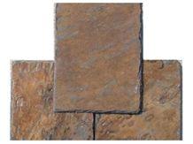 Wellest Rusty Brown Rectangular Black Slate Roof Tile, Sides Natural Split,Without Pre-Drilled Holes,Srt003