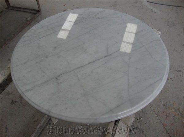 Wellest Statuario White Marble Table Top Restaurant Top