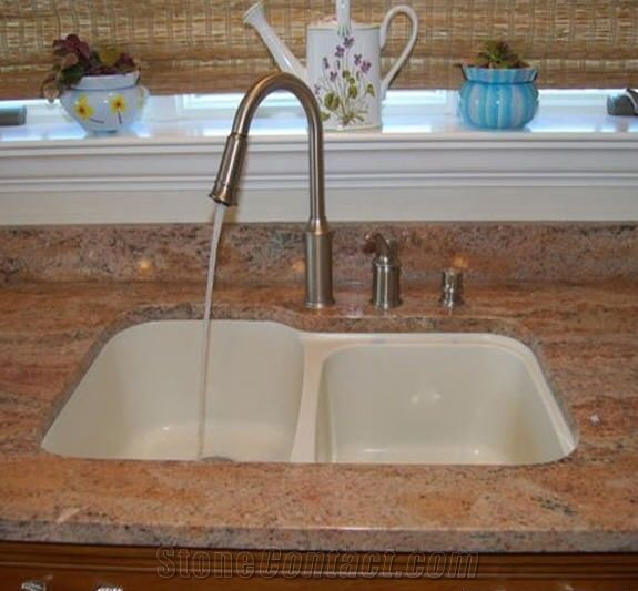 Red Marble Kitchen Countertops: Multicolor Red Granite Kitchen Countertop From China