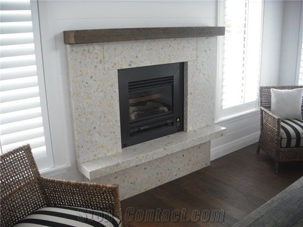 New Zeland Begie Cream Color Quartz Fireplace Hearths