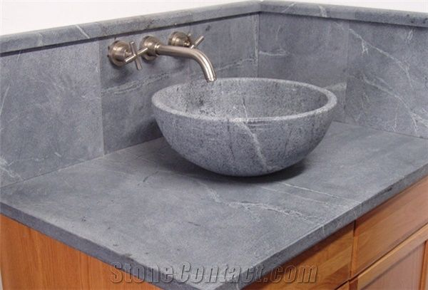Soapstone Round Vessel Sink Santa Rita Venata Grey