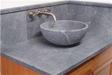 Soapstone Round Vessel Sink, Santa Rita Venata Grey Soapstone Sinks