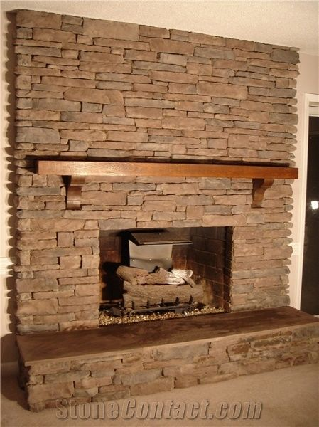 Culture Stone Fireplace Surround Brown Color Brown Slate