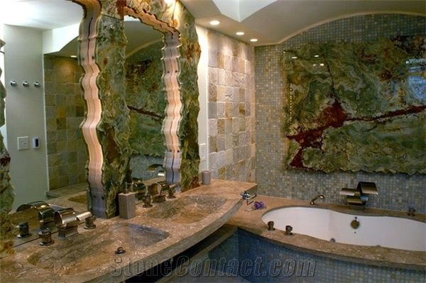 Back Lit Multicolor Green Onyx Slabs Glass Mosaic Bathroom