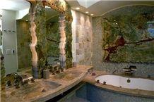 Back-Lit Multicolor Green Onyx Slabs & Glass Mosaic Bathroom Design