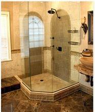 Dark Emperador Marble Shower Design, Marron Emperador Brown Marble Bath Design