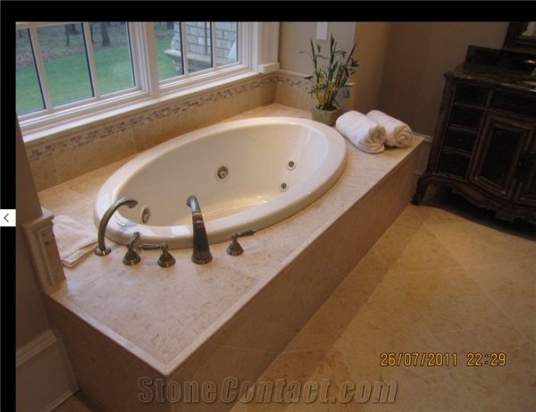 French Limestone Honed Bath Tub Deck and Surrounds, Hautelyre Beige ...