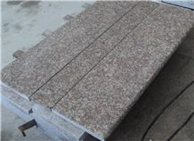 Chinese Popular Cheap G687 Peach Blossom Red Pink Color Granite Polished Steps, Stairs Treads Risers Threshold with Bullnose/Round Edge, Natural Building Stone Interior Decoration Quarry Owner Factory