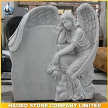 China Hunan White Marble Angel with Wings Tombstone, Angel Carving Headstone, Hand Carved Engraved Family Monuments, Gravestone, Mausoleum