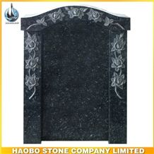 Imported Green Granite Emerald Pearl with Flower Border Carved, Rose Hand Carving Monuments, Chinese Memorials
