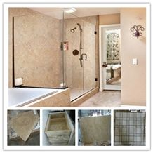 Walnut Travertine Cross Cut Bathroom, Walnut Cross Cut Beige Travertine Bath Design